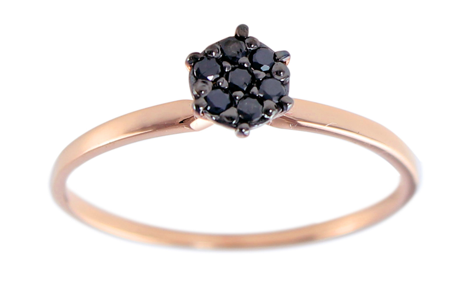 Vera Perla  18K Solid Black and Yellow Gold 0.07Cts Genuine Black Diamonds  Solitaire Ring -Size 6.5 US