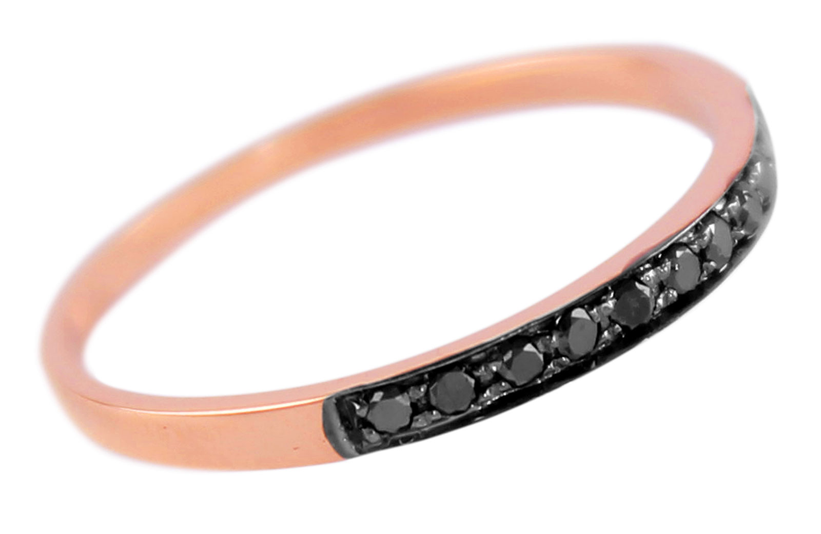 Vera Perla 18K Solid Black and Rose Gold 0.10Cts Genuine Diamonds Eternity Band Ring -Size 6.5 US