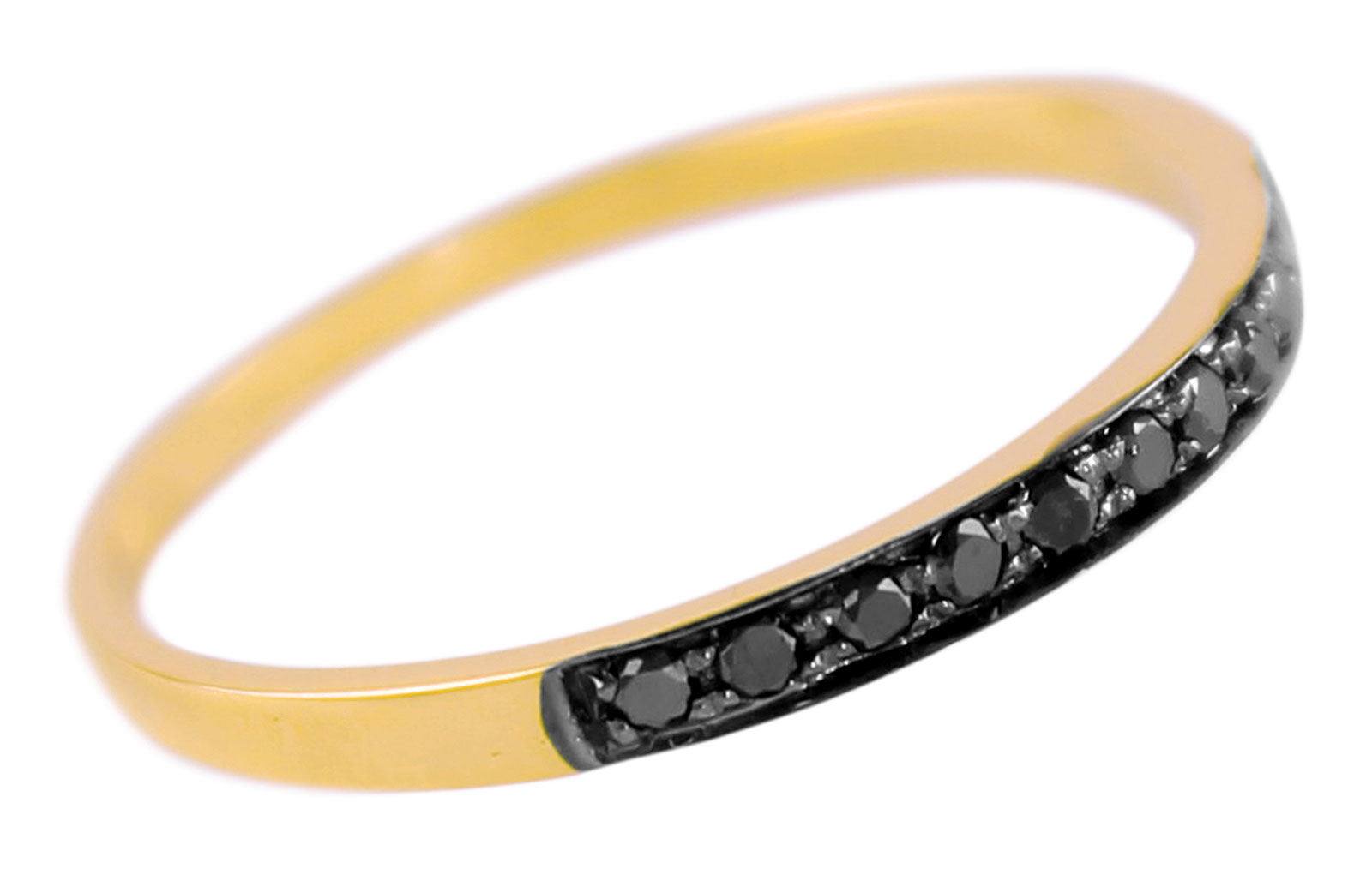 Vera Perla  18K Solid Black and Yellow Gold 0.10Cts Genuine Black Diamonds Eternity Band Ring -Size 6.5 US