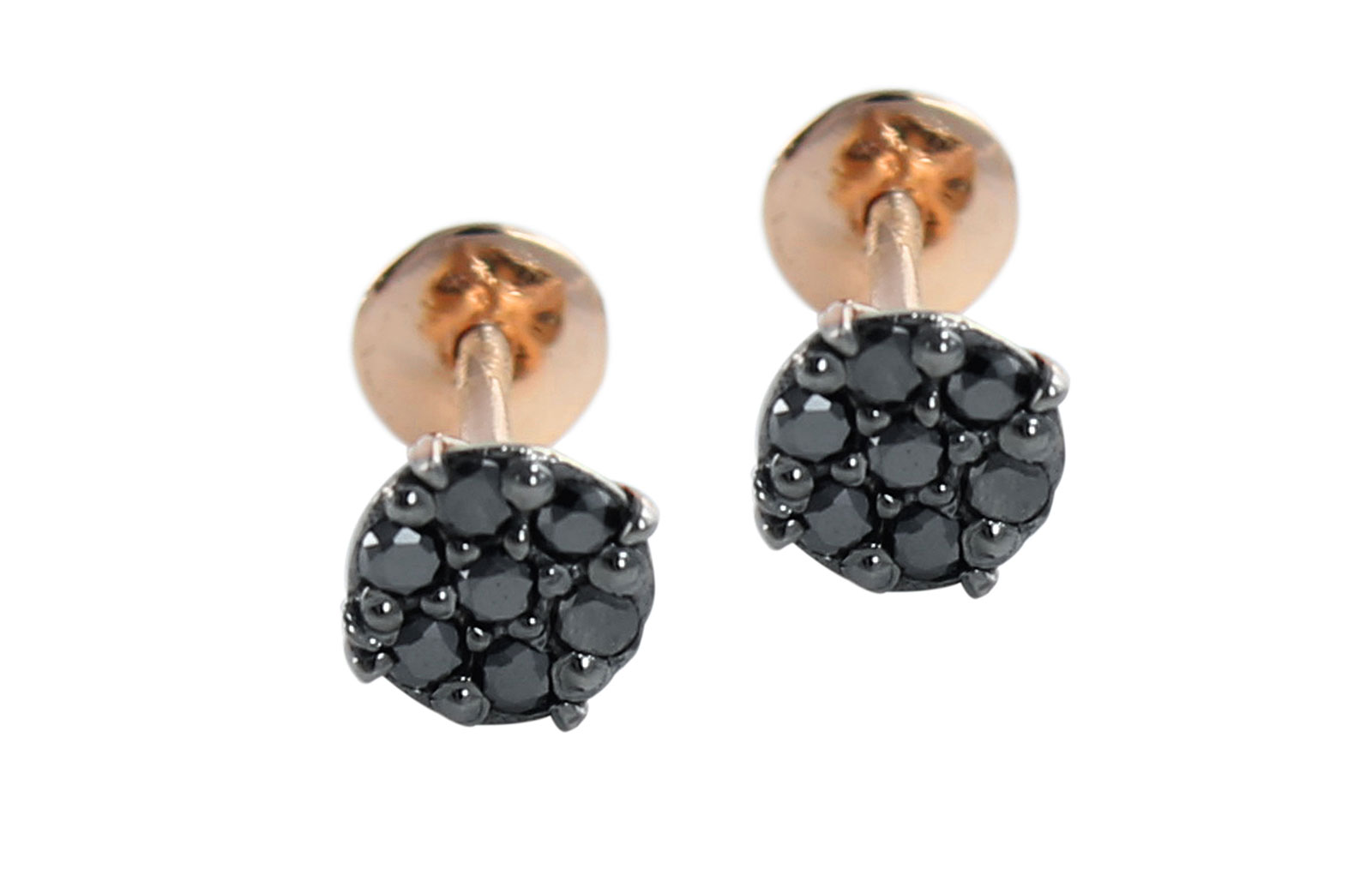 Vera Perla  18K Solid Black and Rose Gold and 0.14Cts Genuine Black Diamonds Solitaire Screw Back Earrings