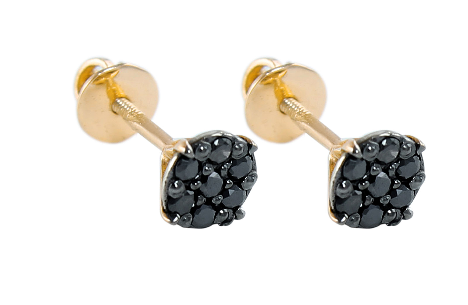 Vera Perla 18K Solid Black and Yellow Gold and 0.14Cts Genuine Black Diamonds Solitaire Screw Back Earrings