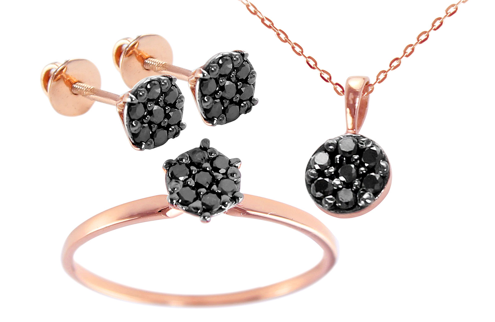 Vera Perla 18k Rose and Black Gold Black Diamonds Solitaire Earrings, Ring and Necklace Set
