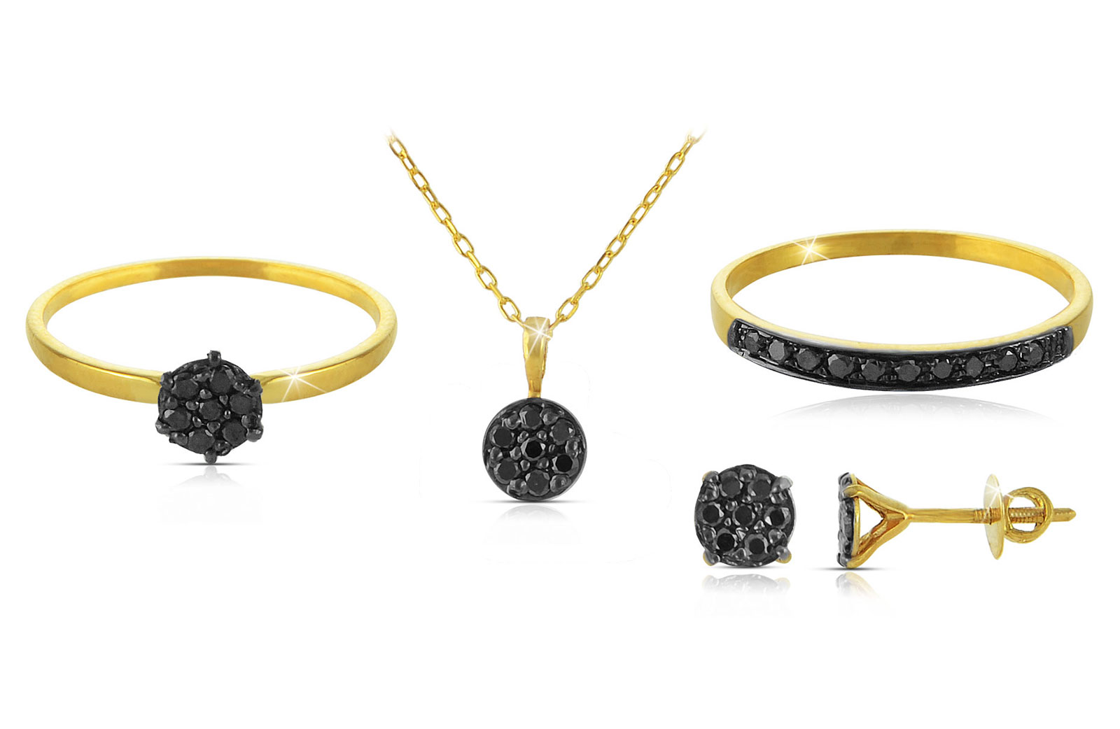 Vera Perla 18k  Solid Yellow Gold Black Diamonds Solitaire Earrings, Ring and Necklace Set
