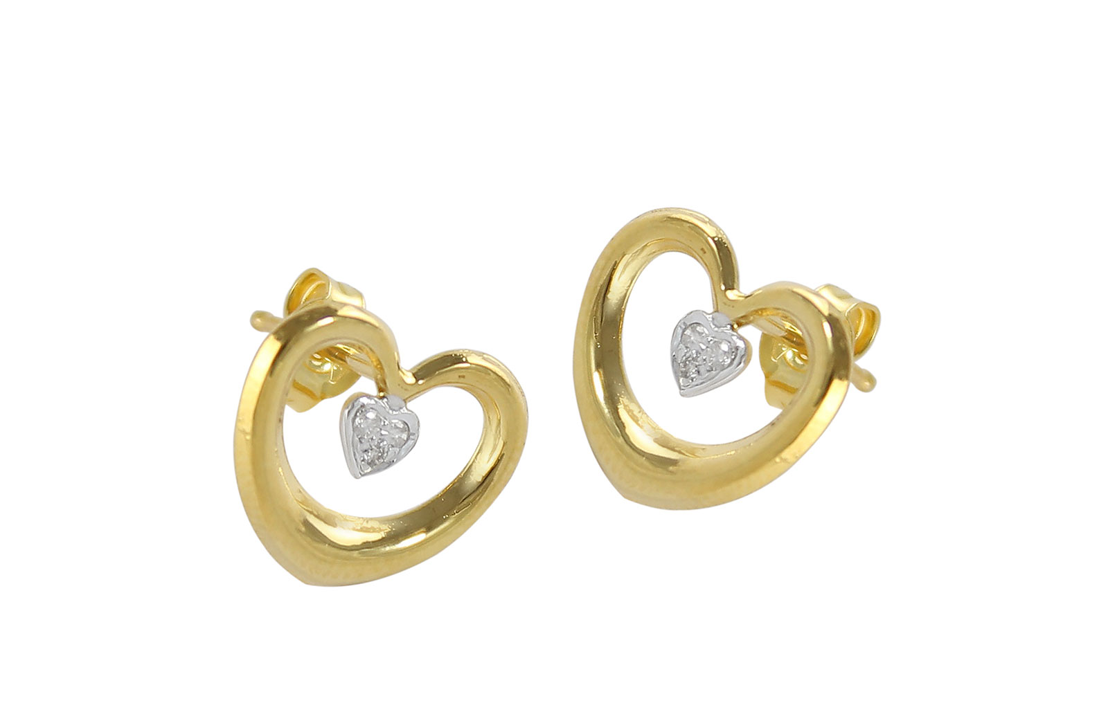 Vera Perla 18K Solid Gold, 0.06Cts Diamonds Hollow  Earrings