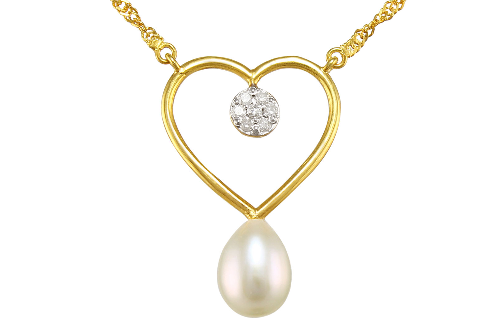 Vera Perla 18K Solid Gold, 0.07Cts Diamonds and 7mm Pearl  Heart Solitaire Necklace
