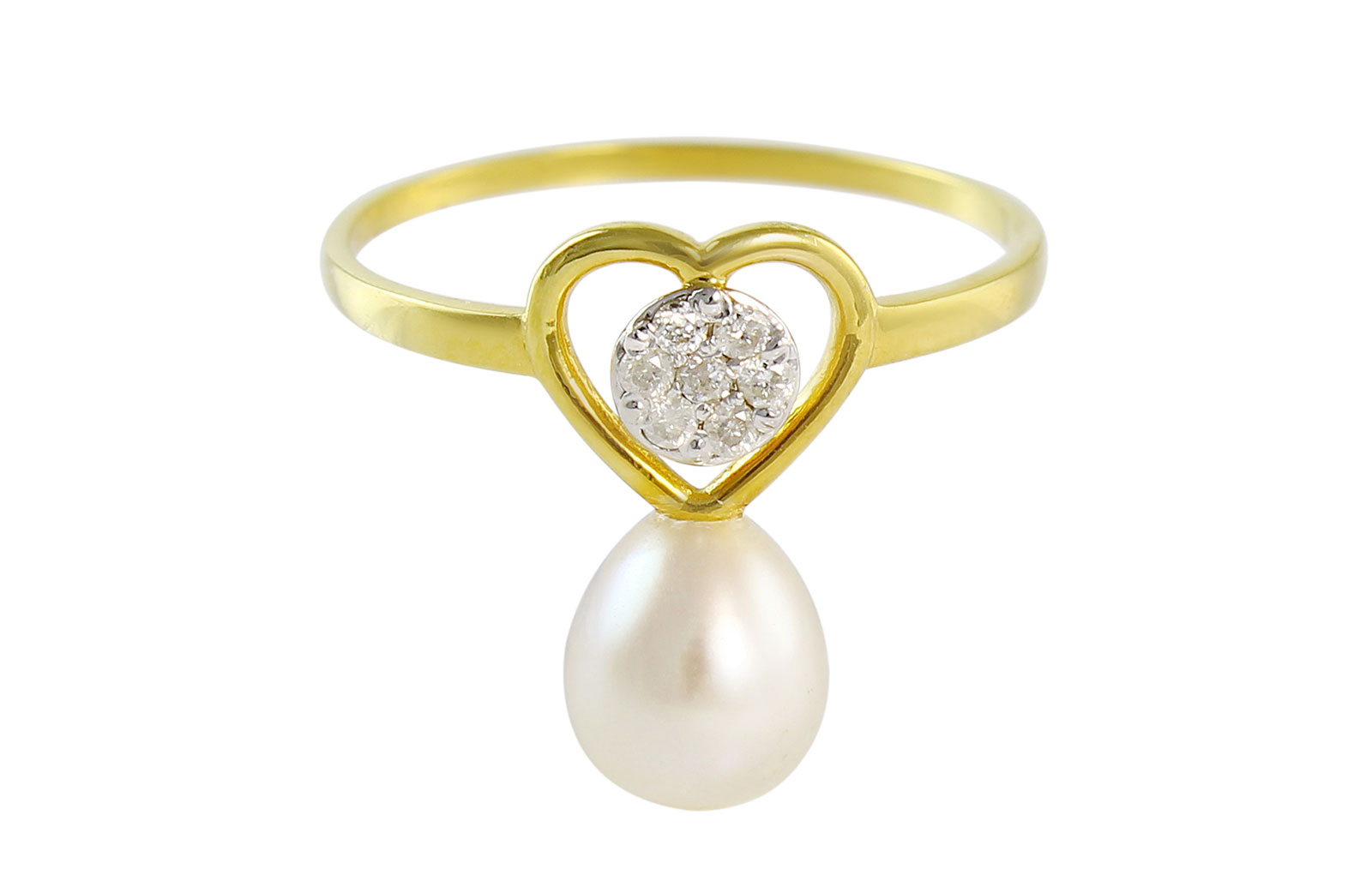 Vera Perla 18K Solid Yellow Gold 0.07Cts Genuine Diamonds and 7mm Pearl   Solitaire  Heart Ring -Size 7 US