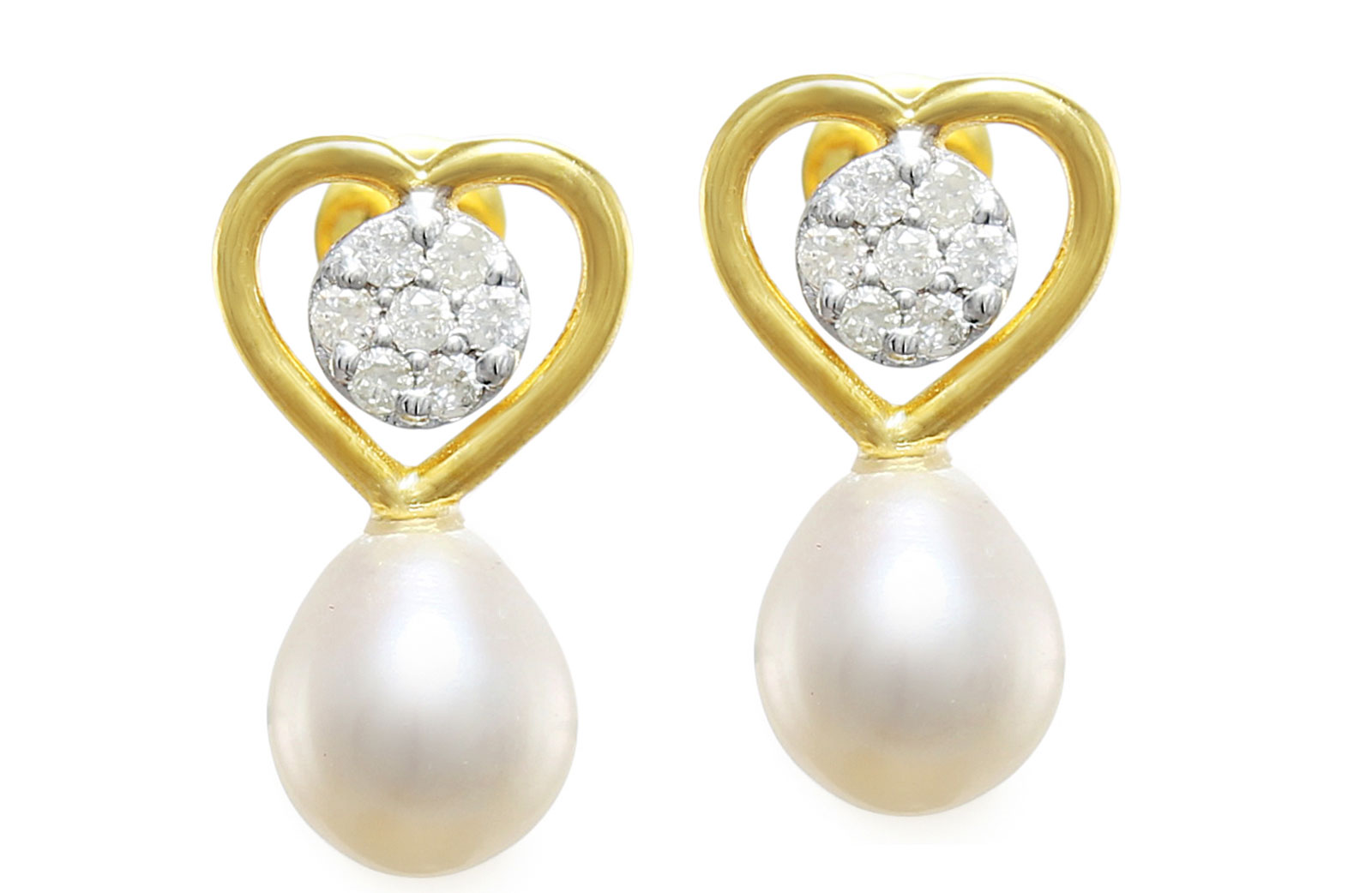 Vera Perla 18K Solid Gold and 0.14Cts Diamonds and 7mm Pearls Solitaire Heart Earrings