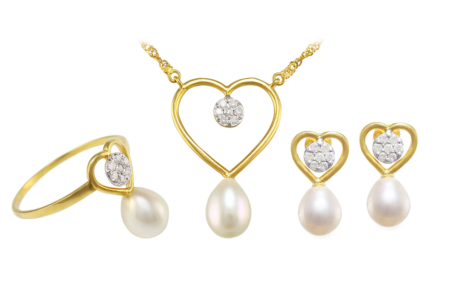 Vera Perla 18k Solid Gold Diamonds 7mm Pearls Solitaire Heart Earrings, Ring and Necklace Set