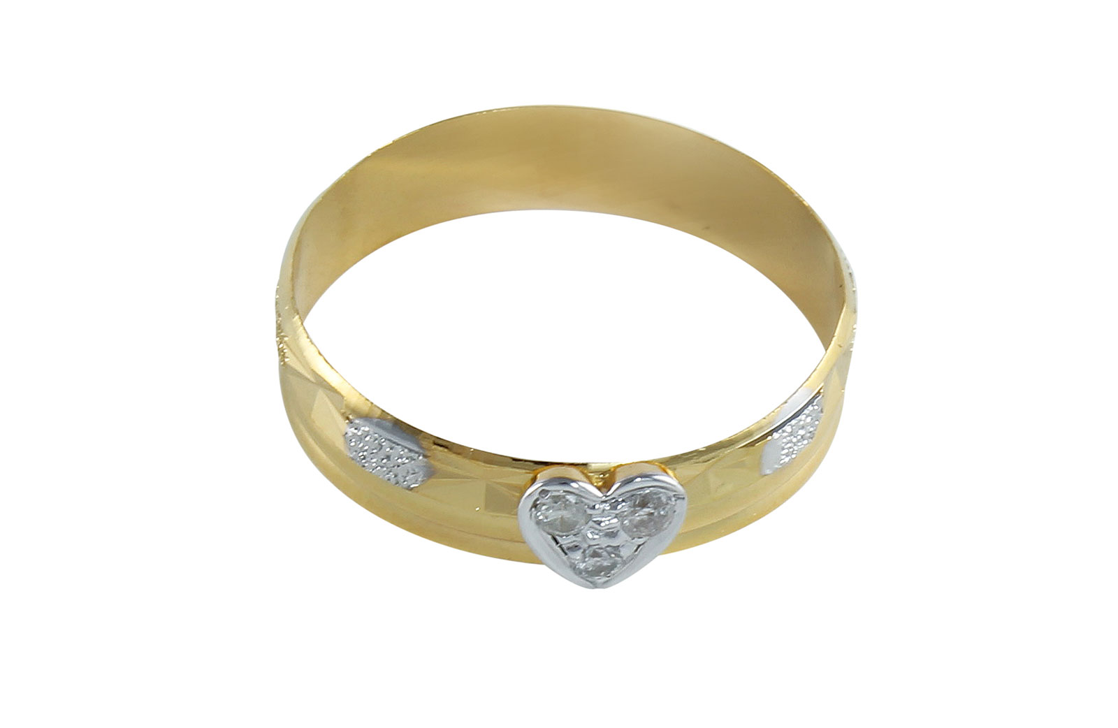 Vera Perla 18K Solid  Gold 0.06Cts Genuine Diamonds Heart Band Ring