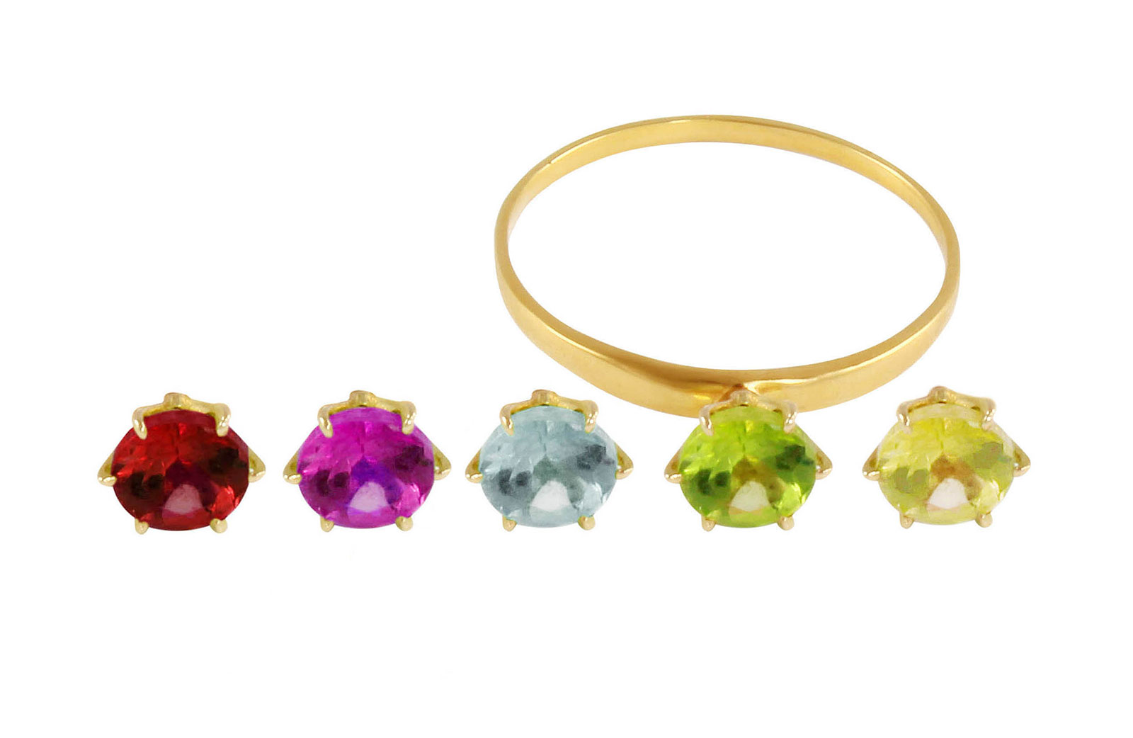 Vera Perla 18K  Yellow Gold Genuine Gemstones Interchangeable  Solitaire Ring -Size 6 US