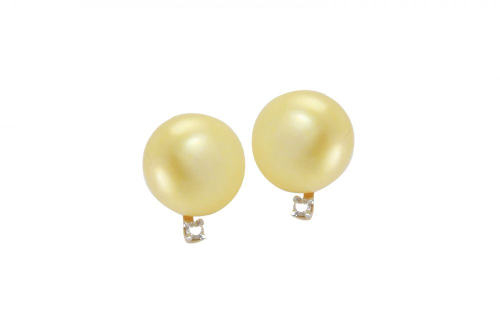 Vera Perla 18K Solid Gold 0.04Cts Genuine Diamonds 9-10mm Genuine Golden Pearls  Earrings