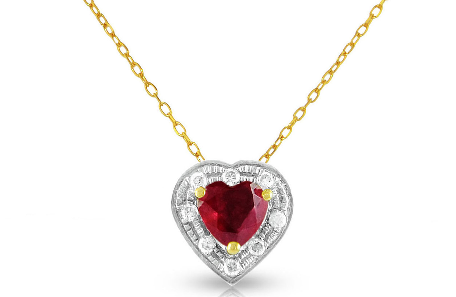 Vera Perla  18K Solid Gold and 0.08Cts Diamonds and 5mm Genuine Ruby Heart Necklace