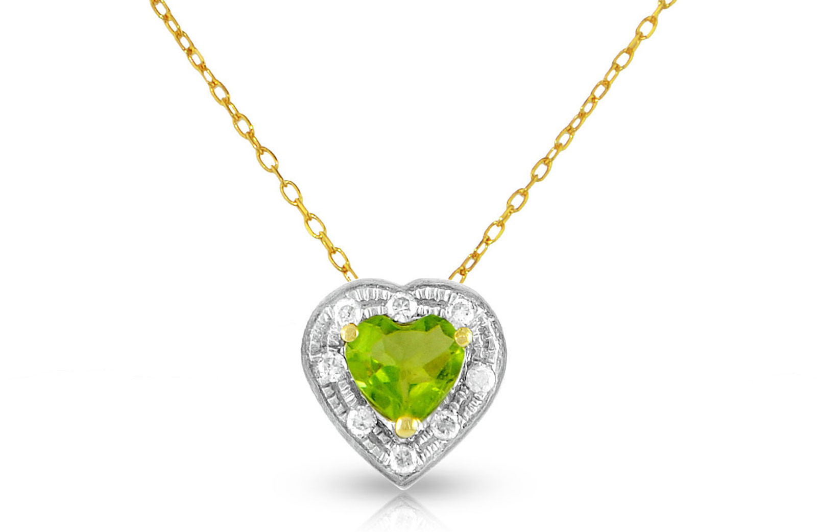 Vera Perla  18K Solid Gold and 0.08Cts Diamonds and 5mm Genuine Peridot Heart Necklace