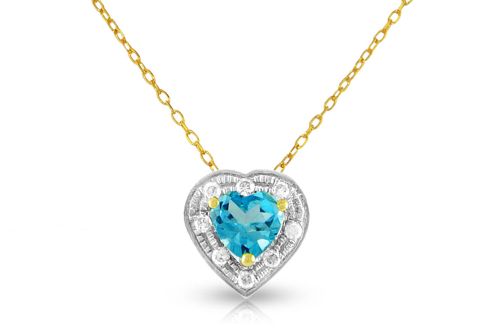 Vera Perla 18K Solid Gold and 0.08Cts Diamonds and 5mm Genuine Swiss Blue Topaz Heart Necklace