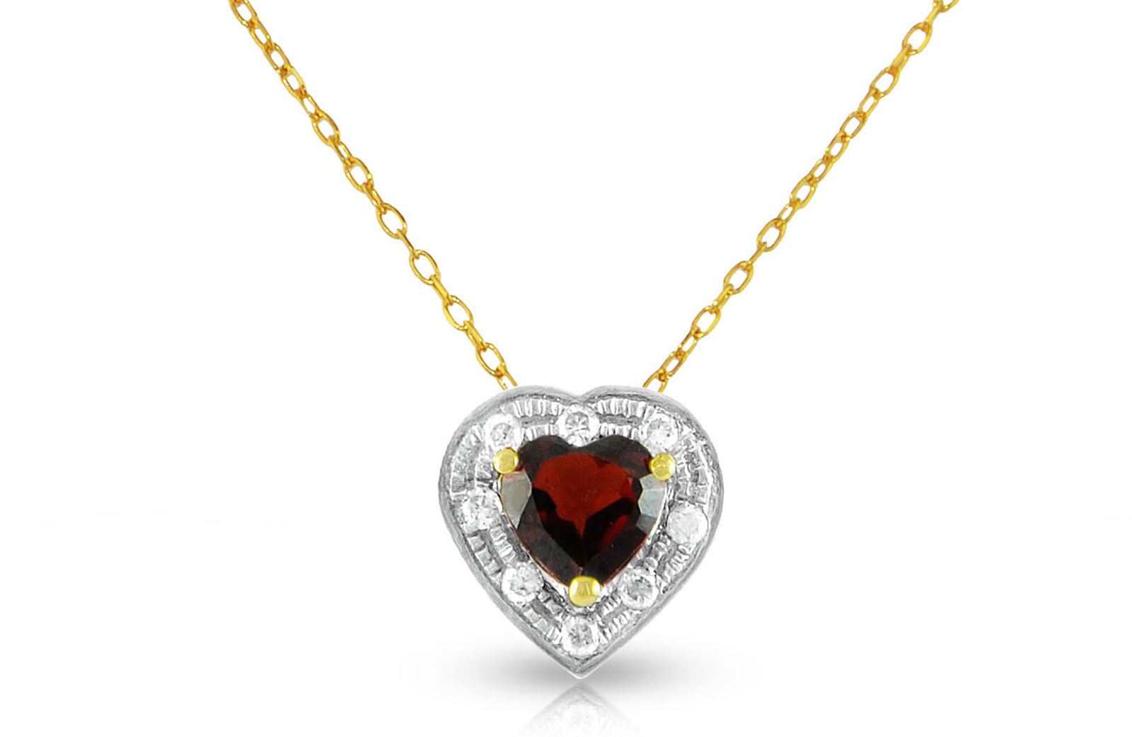 Vera Perla 18K Solid Gold and 0.08Cts Diamonds and 5mm Genuine Garnet Heart Necklace