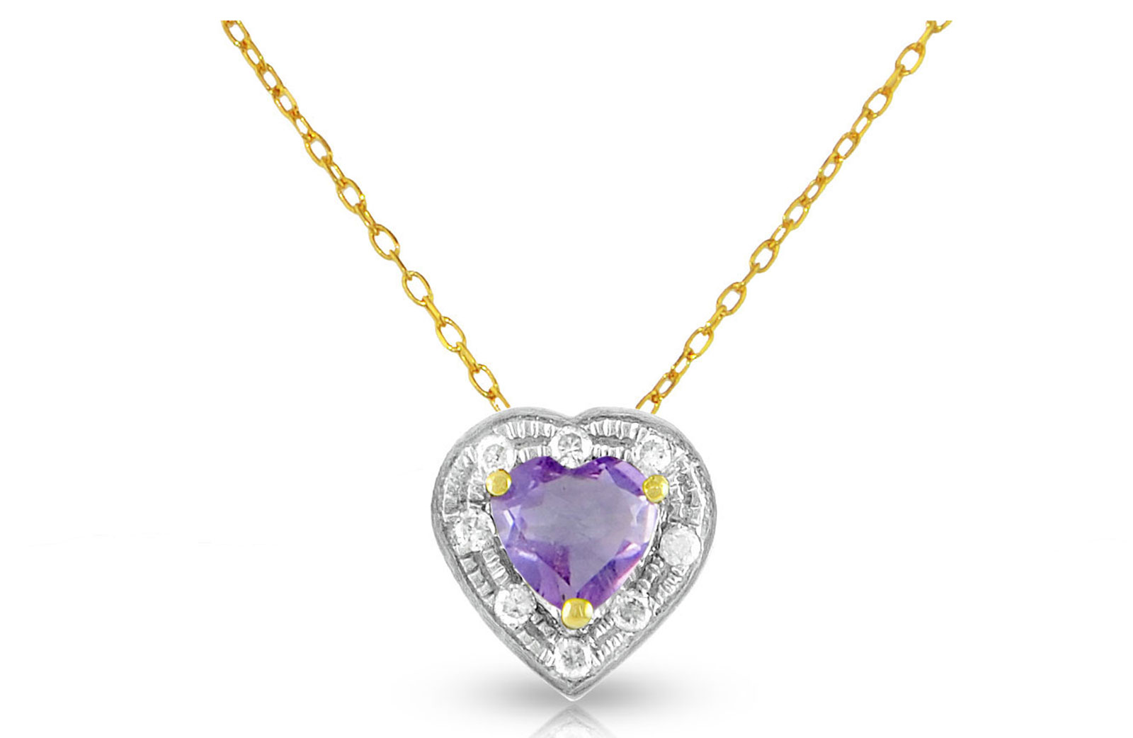 Vera Perla 18K Solid Gold and 0.08Cts Diamonds and 5mm Genuine Amethyst Heart Necklace