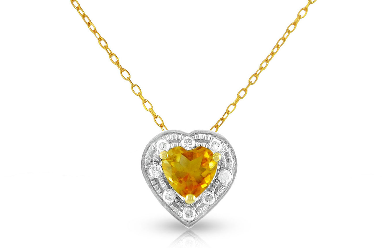 Vera Perla 18K Solid Gold and 0.08Cts Diamonds and 5mm Genuine Citrine Heart Necklace