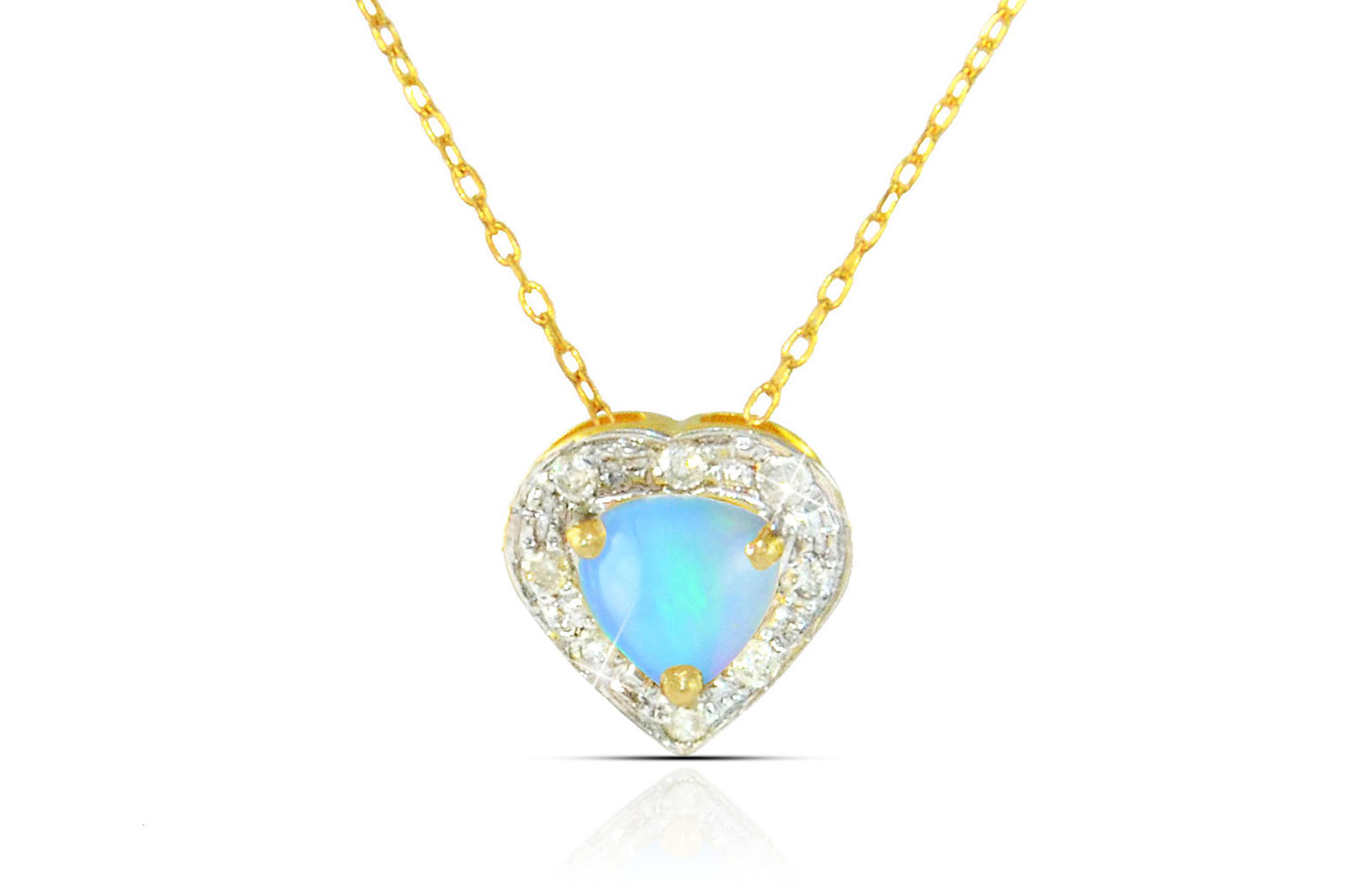 Vera Perla 18K Solid Gold and 0.08Cts Diamonds and 5mm Genuine Ethiopian Opal Heart Necklace