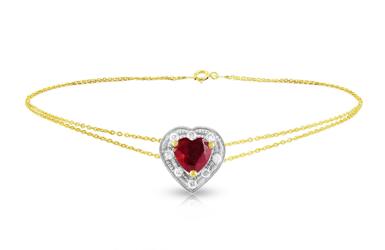 Vera Perla 18K Solid Gold and 0.08Cts Diamonds and 5mm Genuine Ruby Heart Bracelet