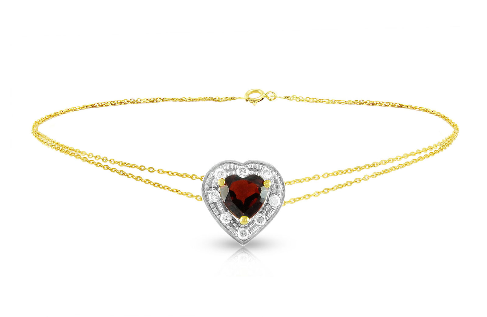 Vera Perla 18K Solid Gold and 0.08Cts Diamonds and 5mm Genuine Garnet Heart Bracelet