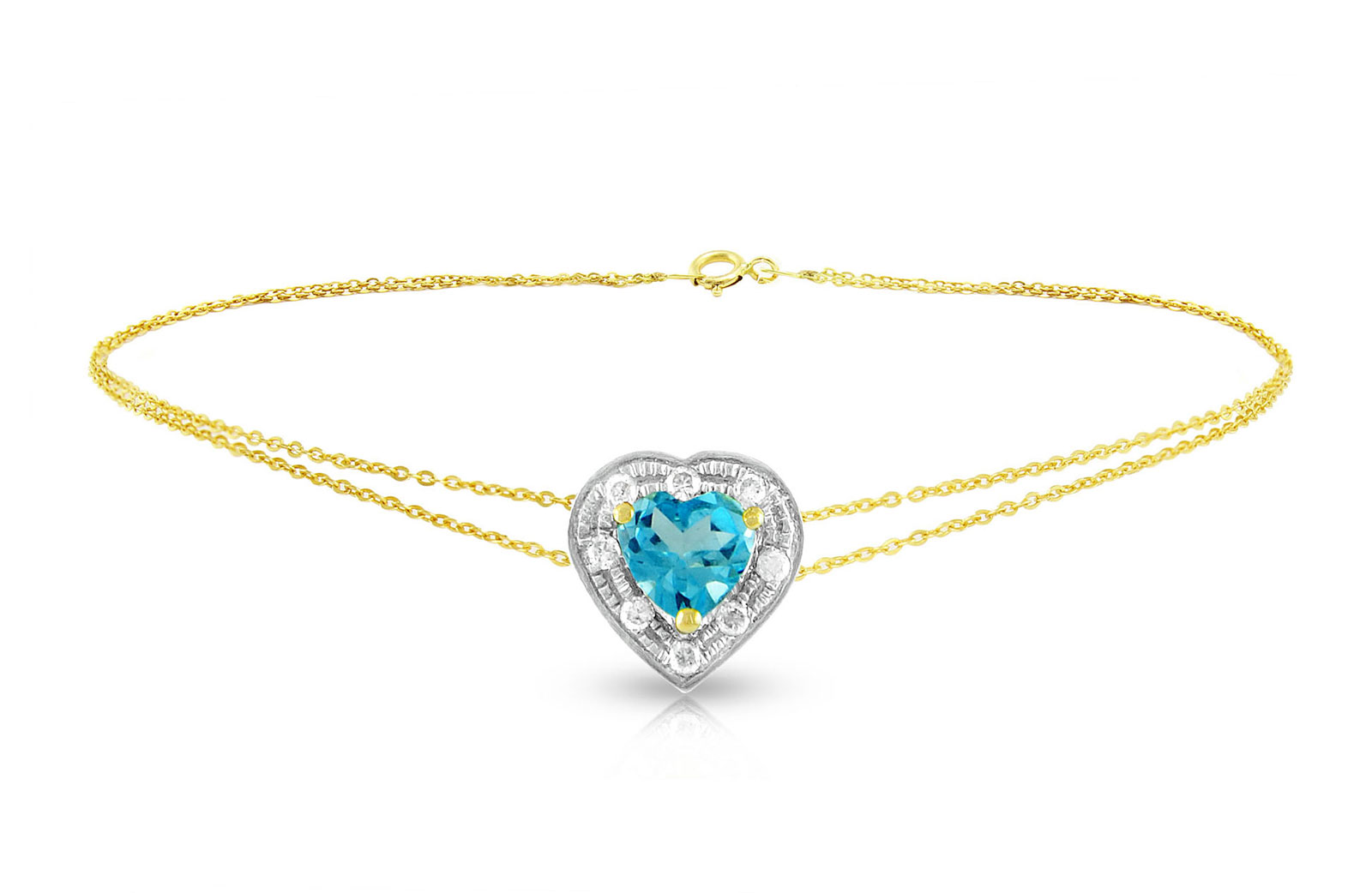 Vera Perla 18K Solid Gold and 0.08Cts Diamonds and 5mm Genuine Swiss Blue Topaz Heart Bracelet