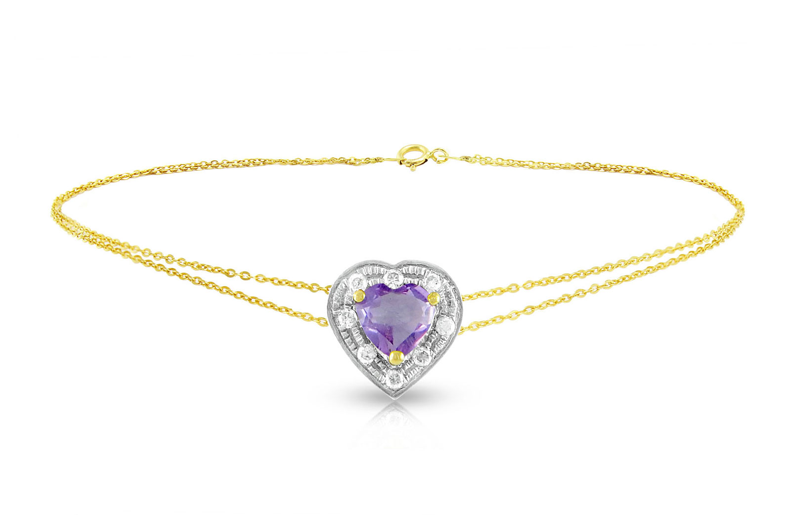 Vera Perla 18K Solid Gold and 0.08Cts Diamonds and 5mm Genuine Amethyst Heart Bracelet