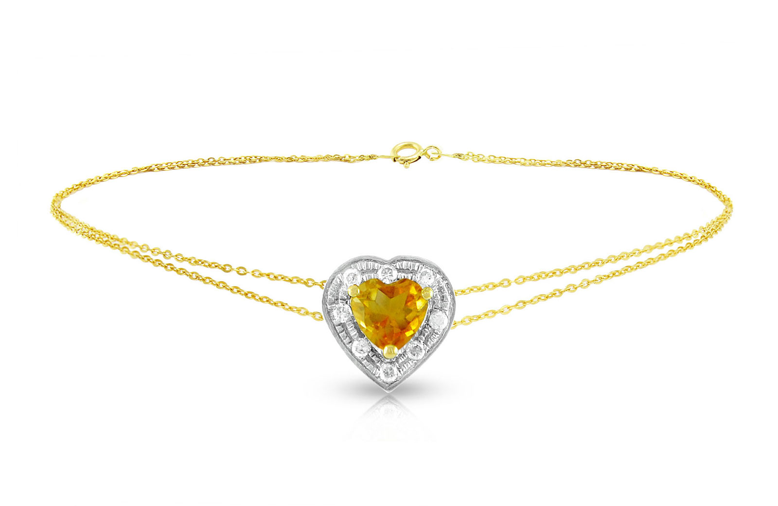 Vera Perla  18K Solid Gold and 0.08Cts Diamonds and 5mm Genuine Citrine Heart Bracelet