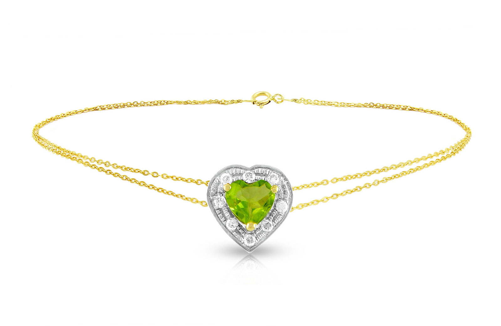 Vera Perla 18K Solid Gold and 0.08Cts Diamonds and 5mm Genuine Peridot Heart Bracelet
