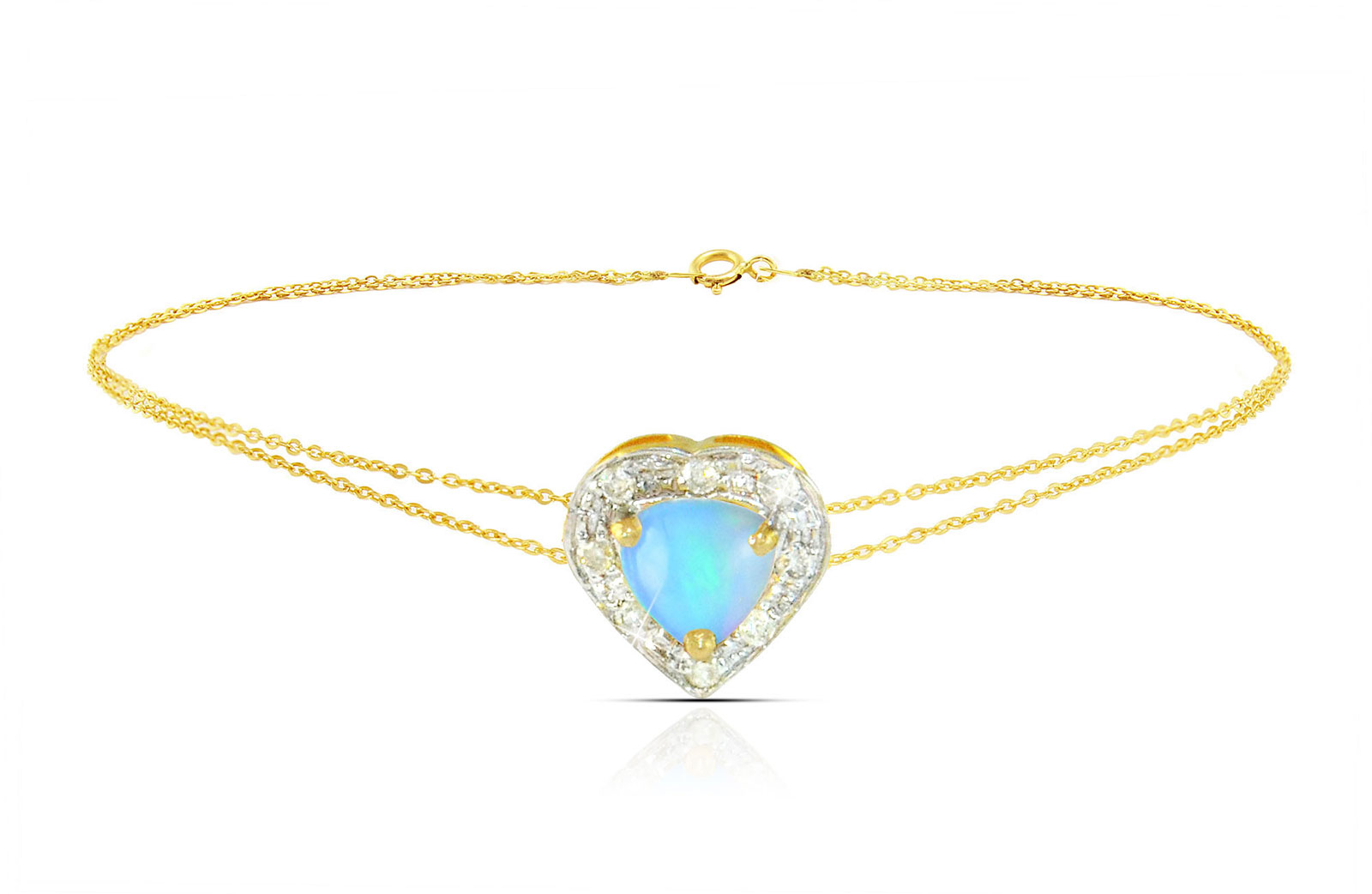 Vera Perla 18K Solid Gold and 0.08Cts Diamonds and 5mm Genuine Ethiopian Opal Heart Bracelet