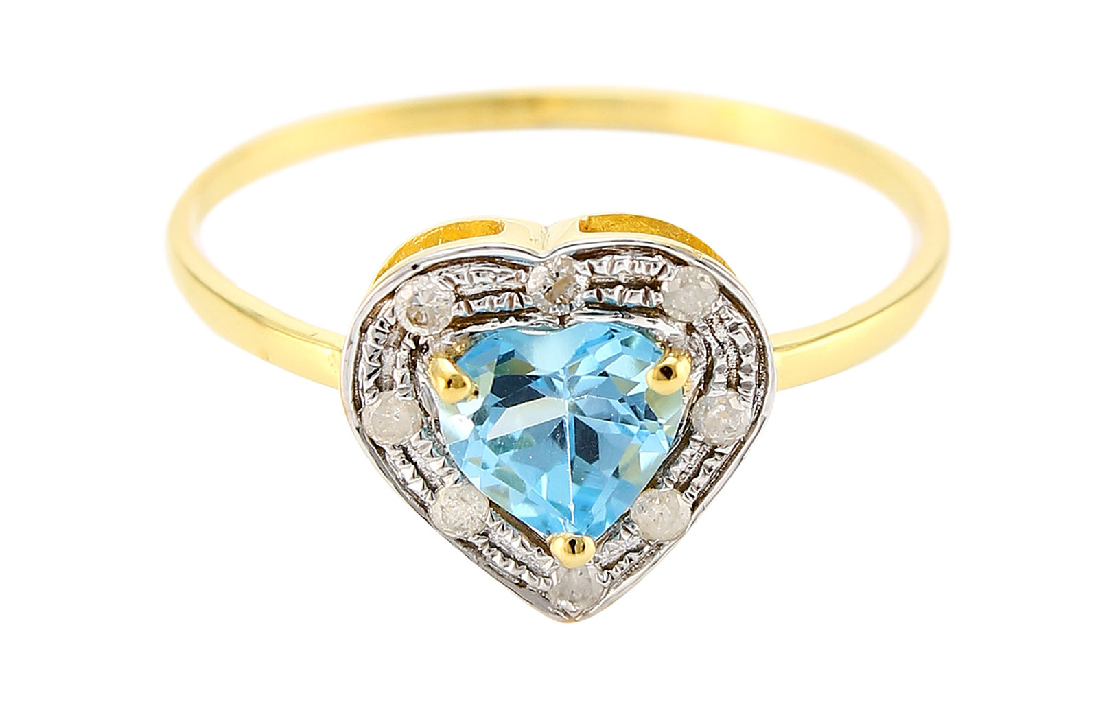 Vera Perla 18K Solid Gold 0.6Ct Genuine Heart Cut Swiss Blue Topaz 0.08Ct Genuine Diamonds Ring