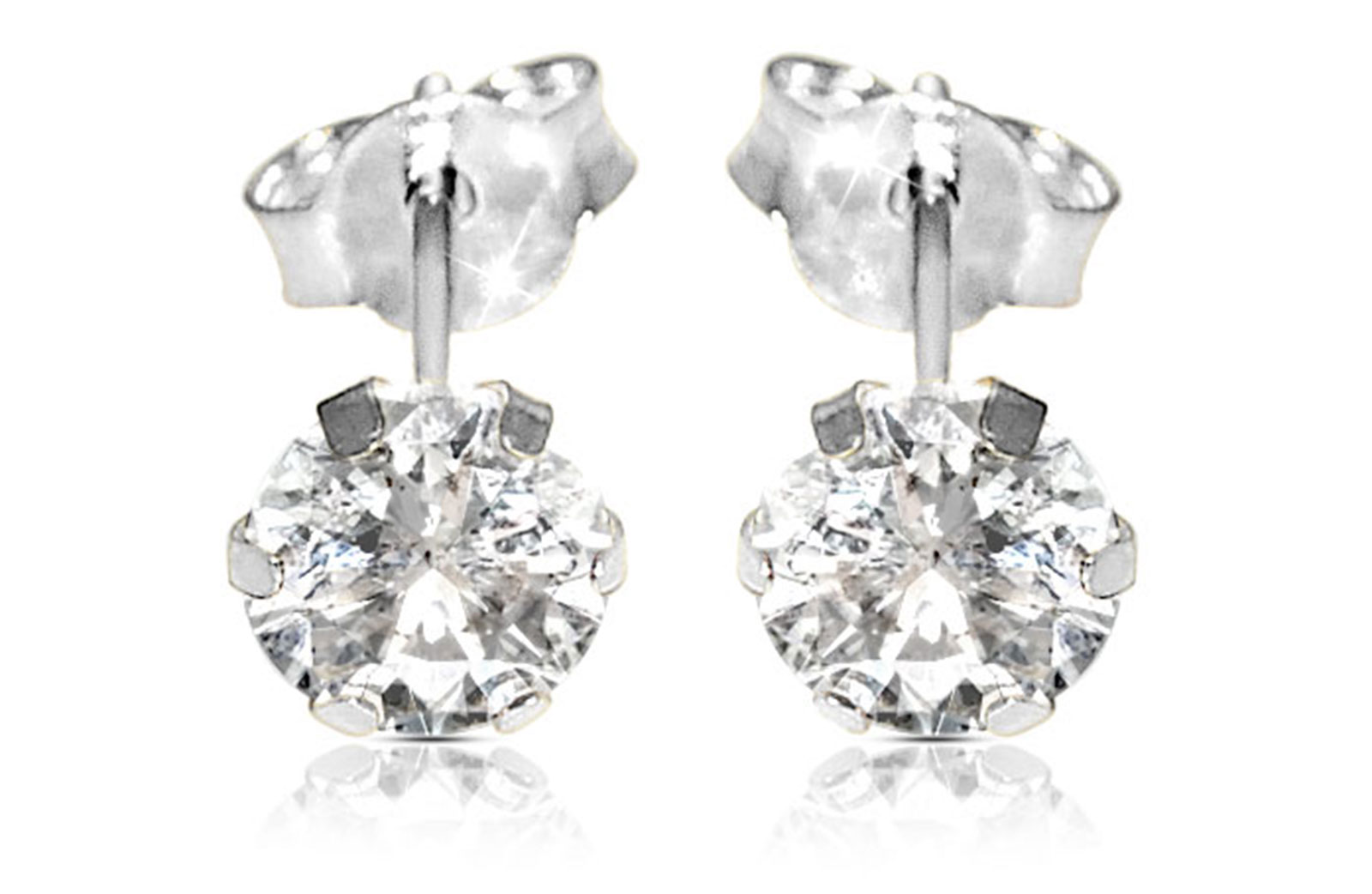 Vera Perla  18K Solid White Gold and 4mm Cubic Zirconia Earrings
