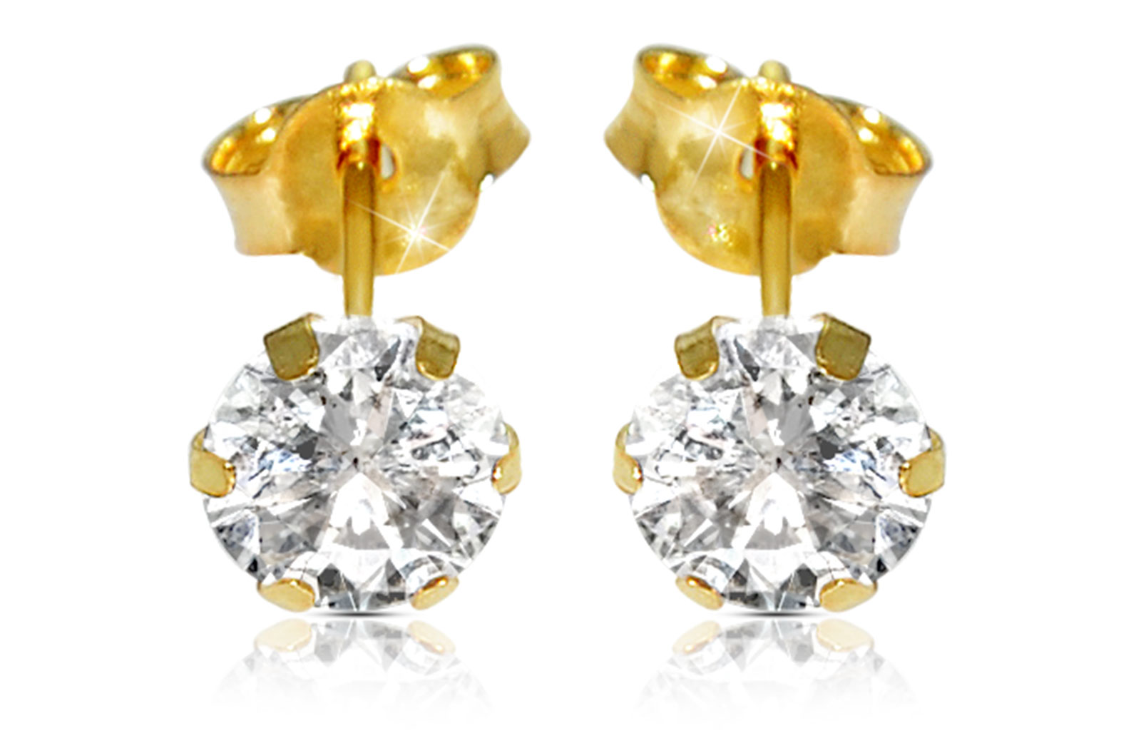 Vera Perla 18K Solid Yellow Gold and 4mm Cubic Zirconia Earrings
