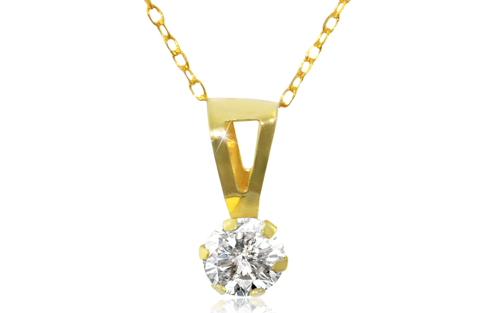 Vera Perla 18K Solid Gold and Cubic Zircon Solitaire Necklace