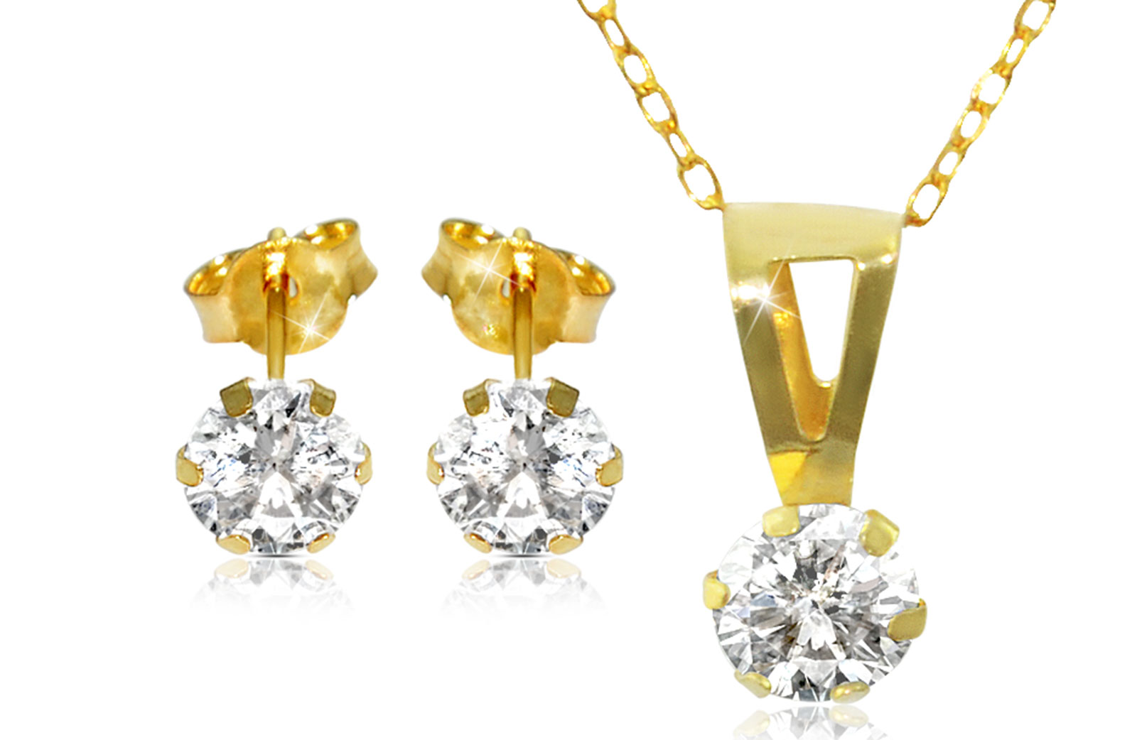 Vera Perla 18K Solid Gold and Cubic Zircon Solitaire Necklace and Earrings