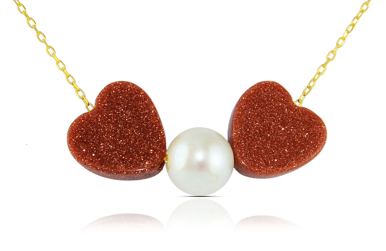 Vera Perla  18K Solid Gold Heart Sunstones and Pearl Necklace