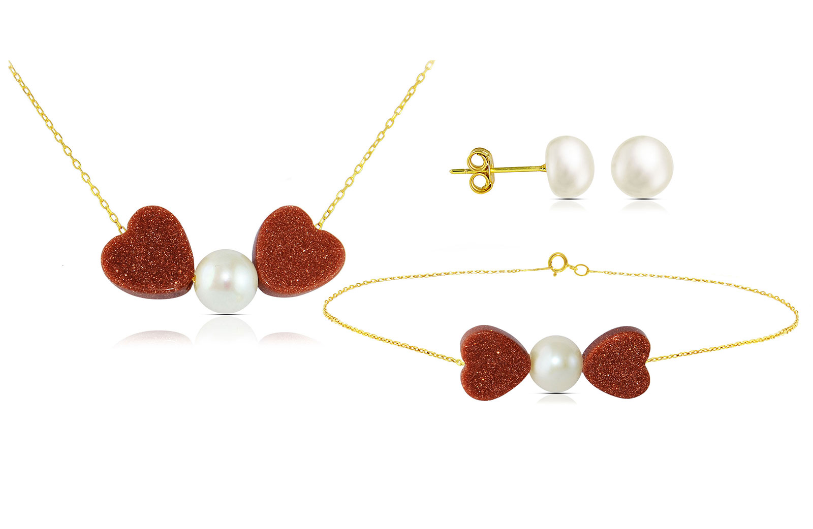 Vera Perla  18K Solid Gold Heart Sunstones and Pearl Necklace and Bracelet + 18K Gold 7mm Pearl Earrings