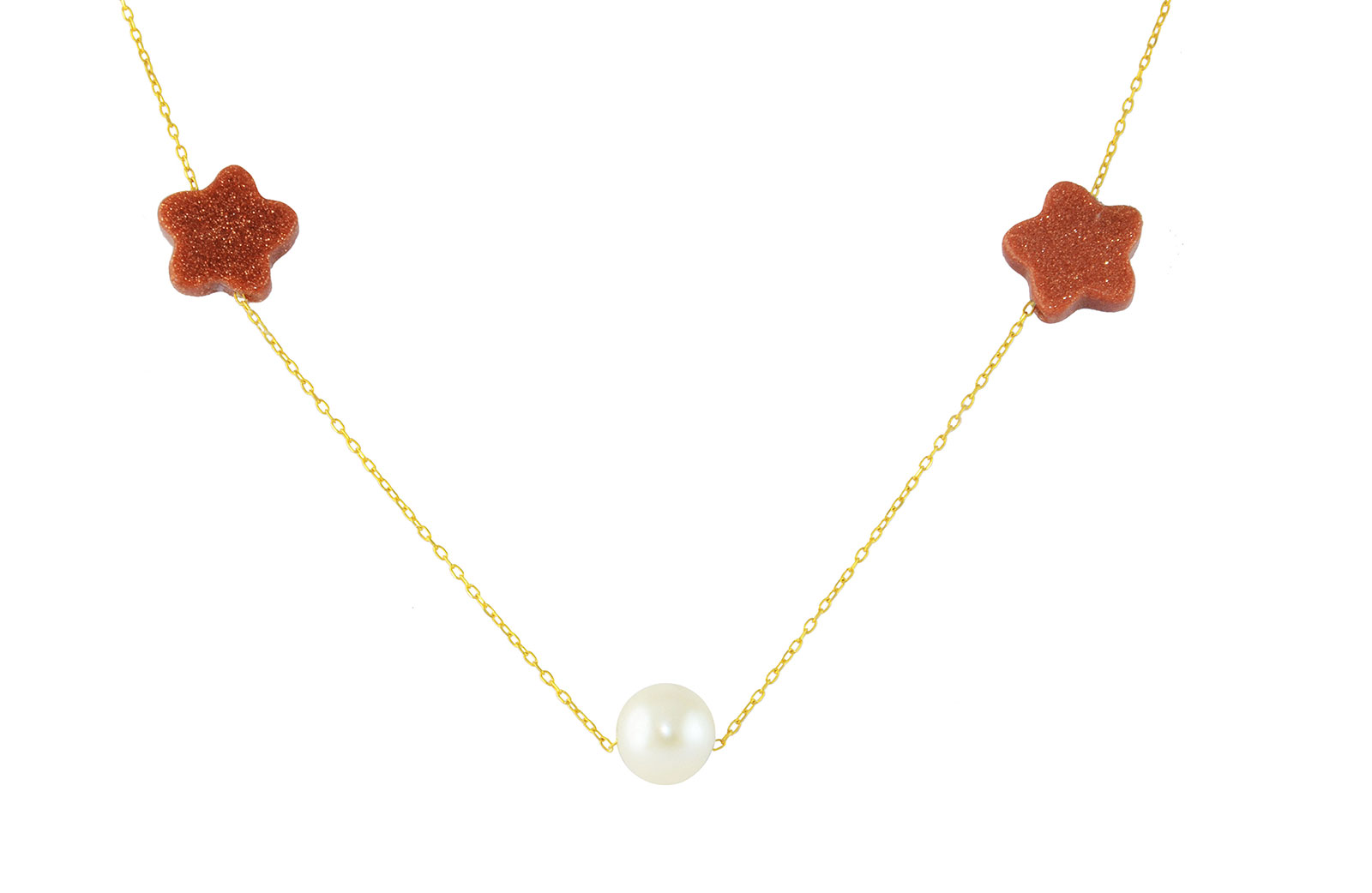 Vera Perla  18K Solid Gold Star Sunstones and Pearl Necklace