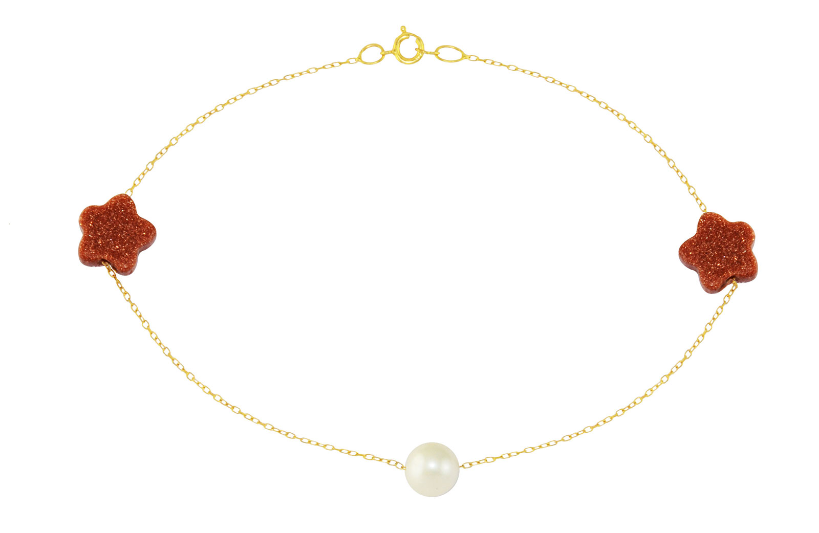 Vera Perla 18K Solid Gold Star Sunstones and Pearl  Bracelet