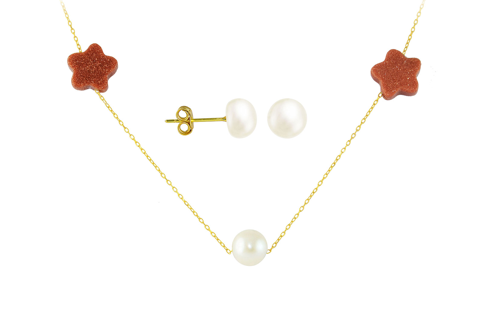 Vera Perla  18K Solid Gold Star Sunstones and Pearl Necklace+ 18K Gold 7mm Pearl Earrings