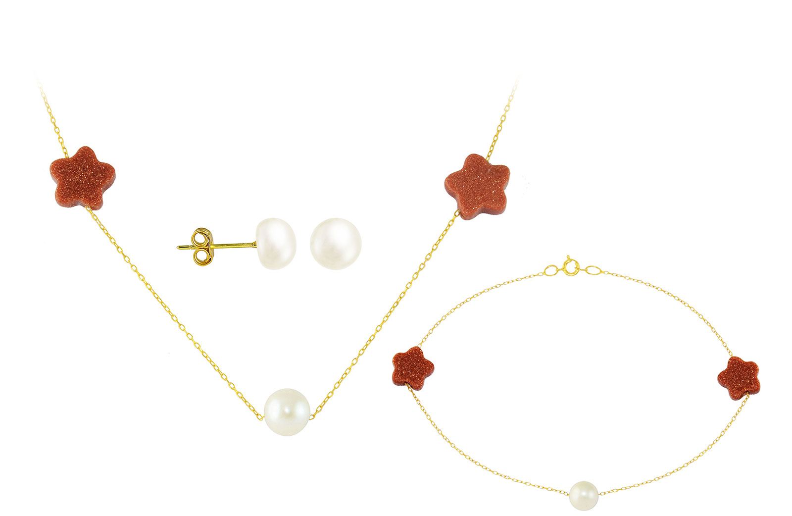 Vera Perla  18K Solid Gold Star Sunstones and Pearl Necklace and Bracelet + 18K Gold 7mm Pearl Earrings