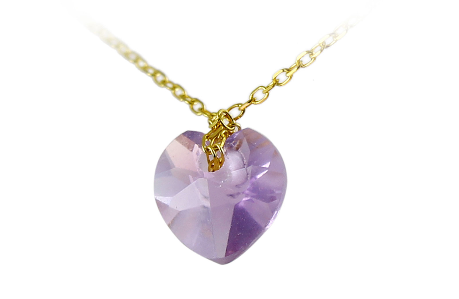 Vera Perla 18K Yellow Gold 7mm Heart Cut Genuine Amethyst Necklace