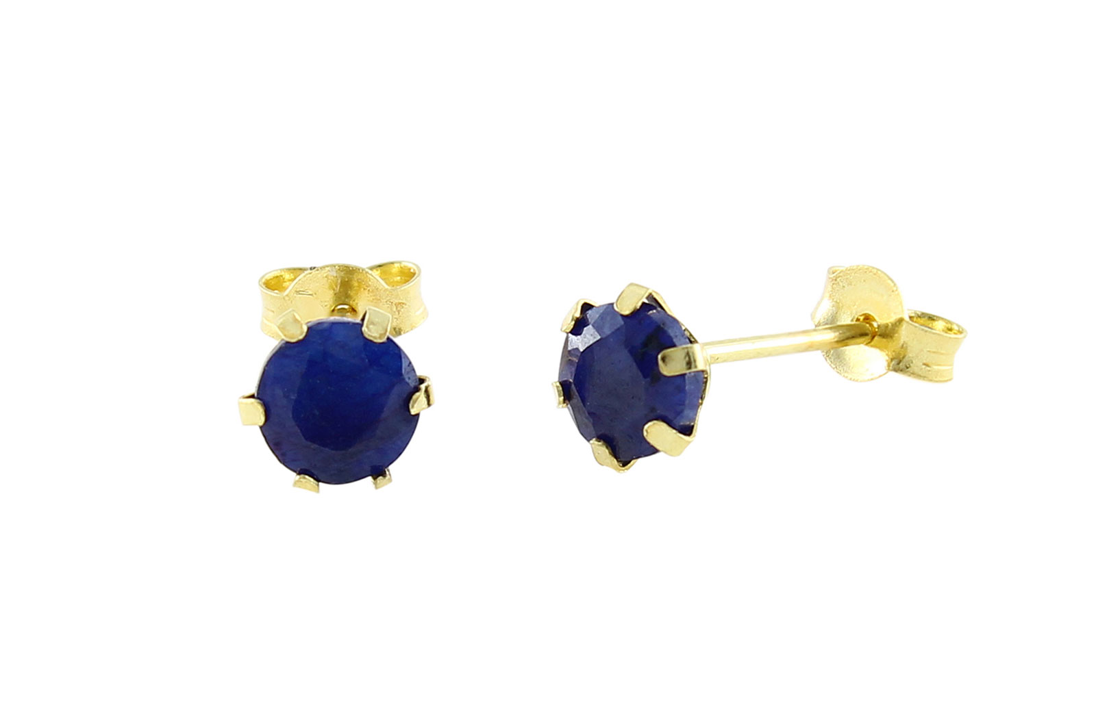 Vera Perla  18K Solid Yellow Gold and 4mm Genuine Sapphires Earrings