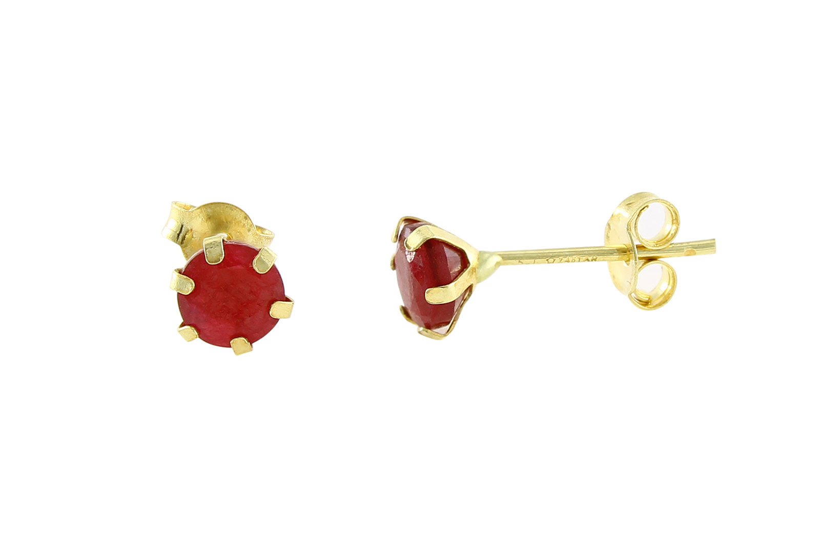 Vera Perla 18K Solid Yellow Gold and 4mm Genuine Rubies Earrings
