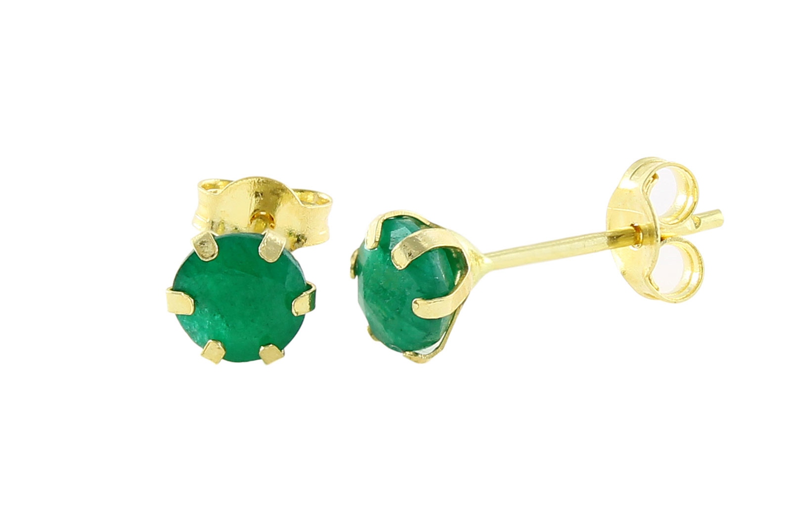 Vera Perla 18K Solid Yellow Gold and 4mm Genuine Emeralds Earrings