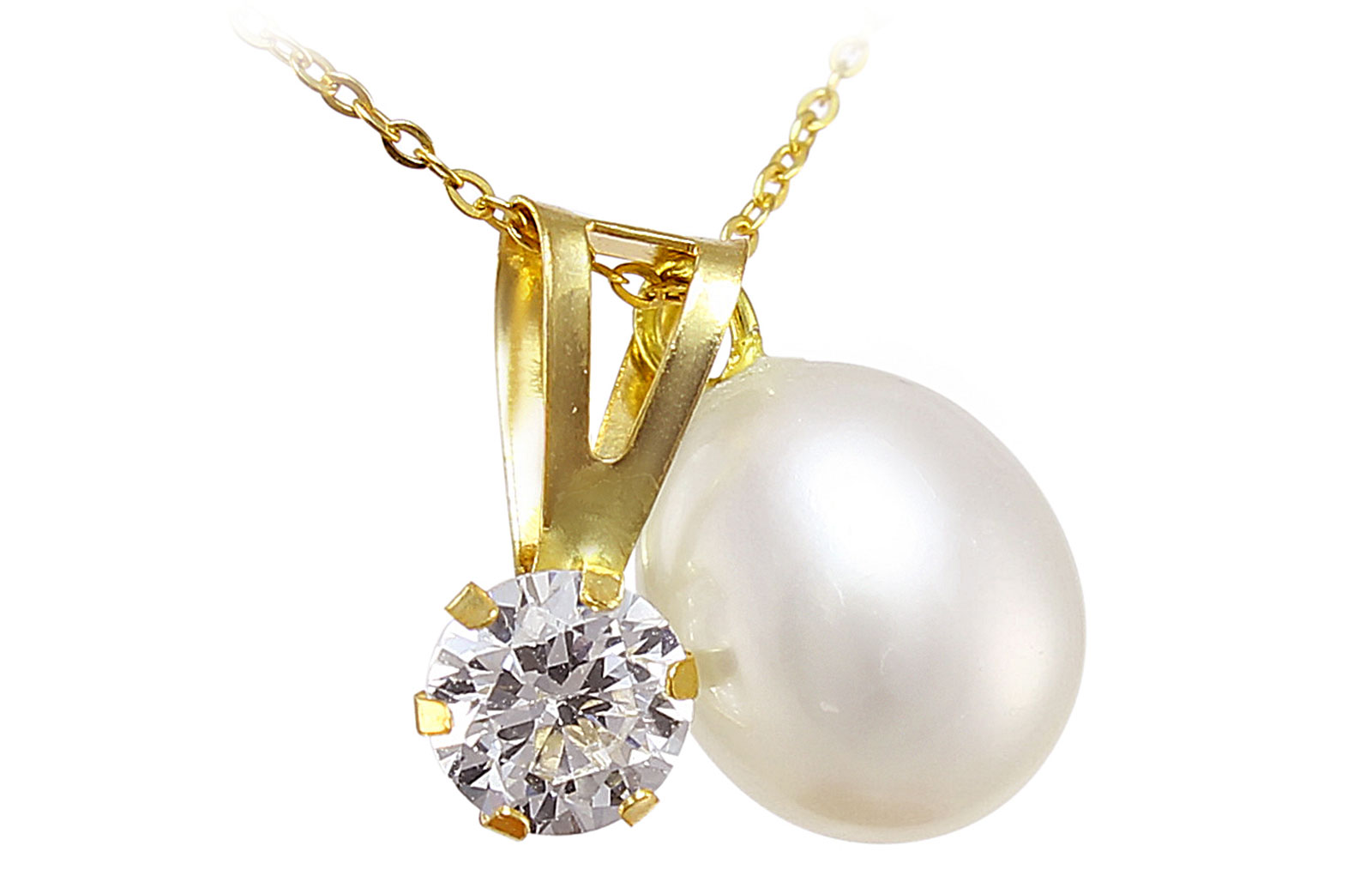 Vera Perla 18k Solid Gold 7mm White Pearl and CZ Solitaire Pendants Necklace