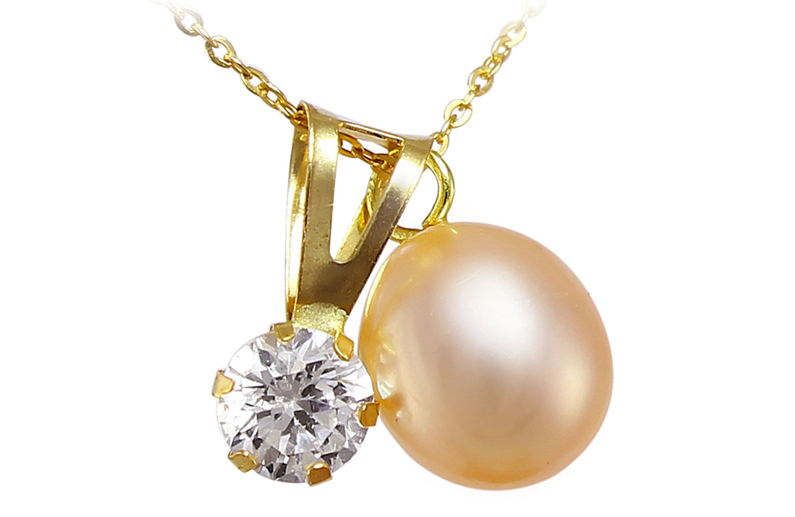 Vera Perla 18k Solid Gold 7mm Pink Pearl and CZ Solitaire Pendants Necklace