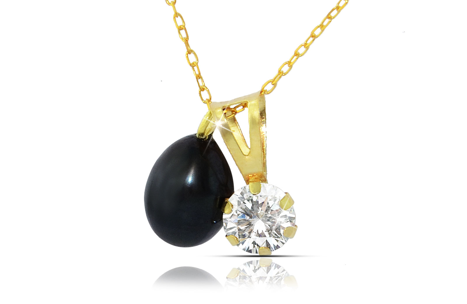 Vera Perla 18k Solid Gold 7mm Black Pearl and CZ Solitaire Pendants Necklace