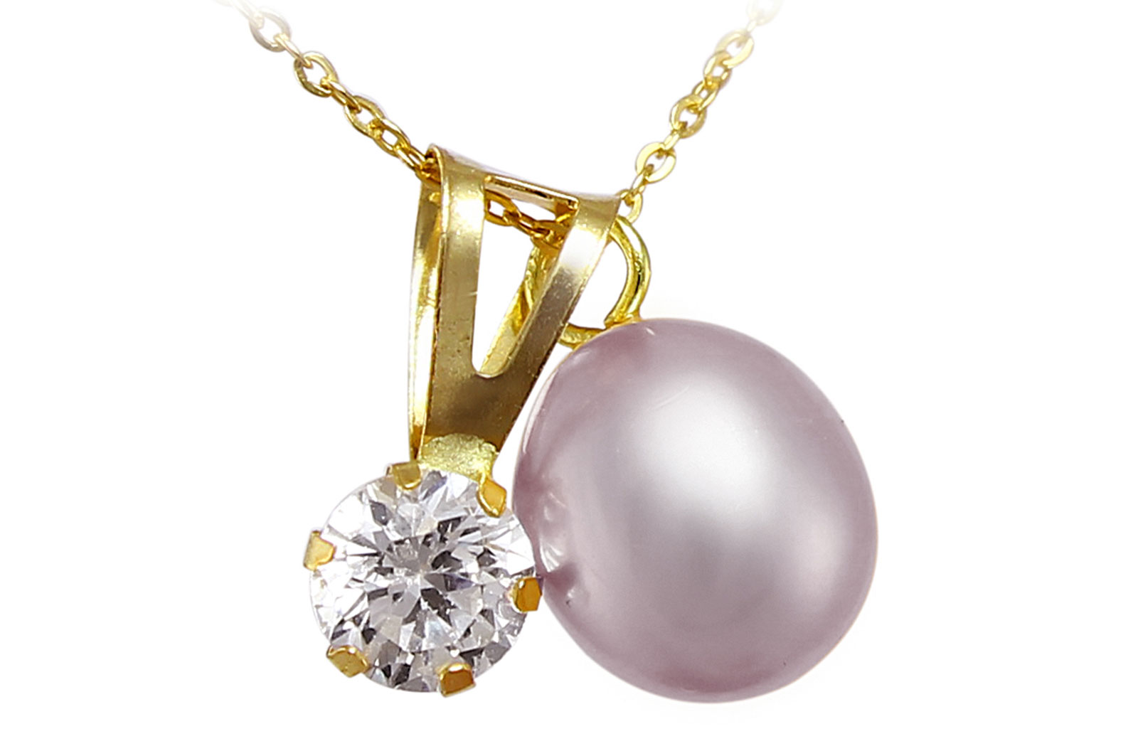Vera Perla  18k Solid Gold 7mm Purple Pearl and CZ Solitaire Pendants Necklace