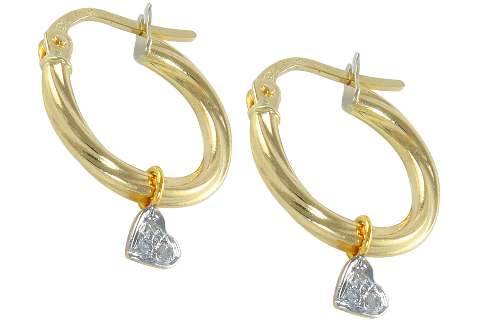 Vera Perla 18K Solid Gold and 0.06Cts Diamonds Small Hoops With Hearts Earrings