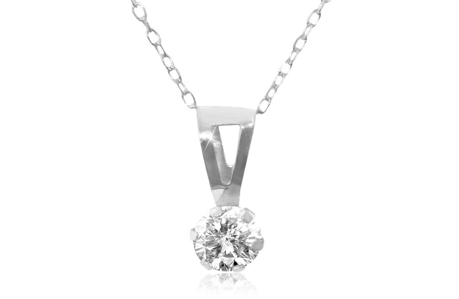 Vera Perla 18K Solid White Gold and Cubic Zircon Solitaire Necklace